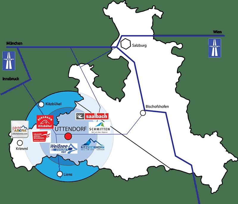 Lage von Uttendorf im Salzburger Land